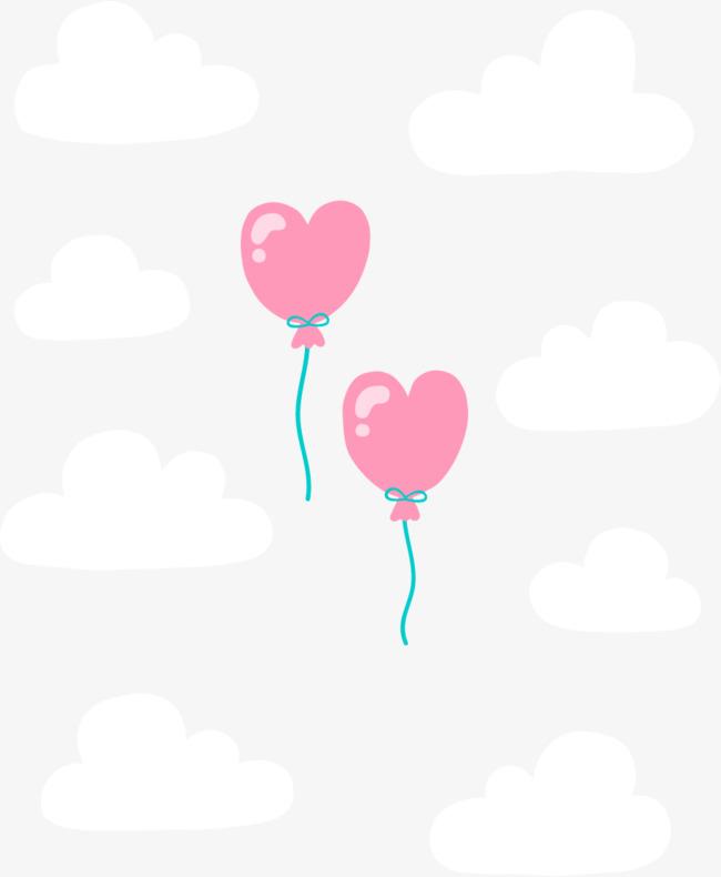 卡通粉色手绘心形气球