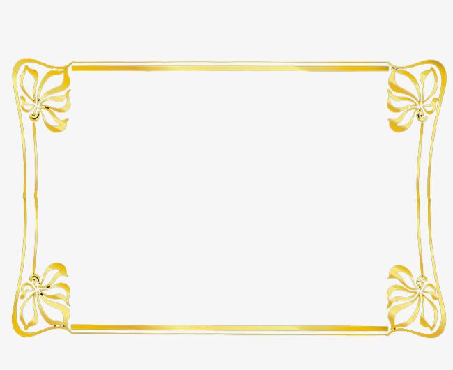 金色长方图框png素材-90设计图片