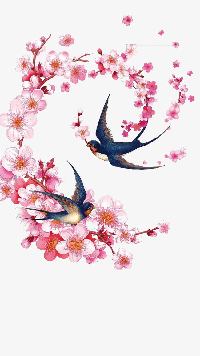 手绘桃花与燕子【高清装饰元素png素材】-90设计