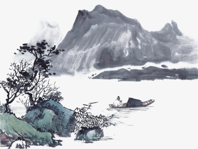 水墨山水墨绿色带船【高清png素材】-90设计