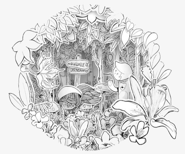 黑白圆形花圈插画