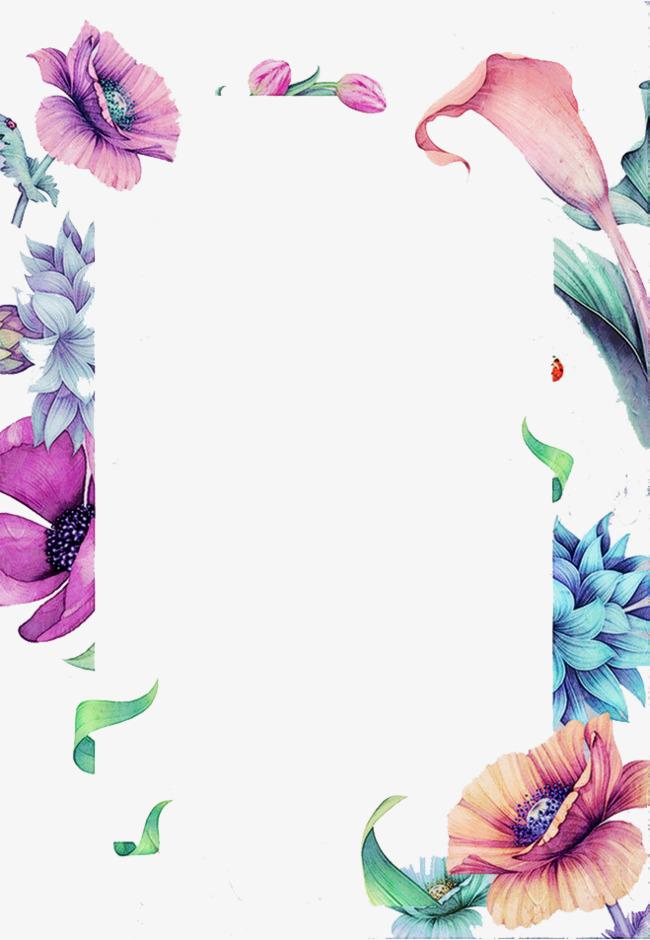 彩色花朵长方图框png素材-90设计图片