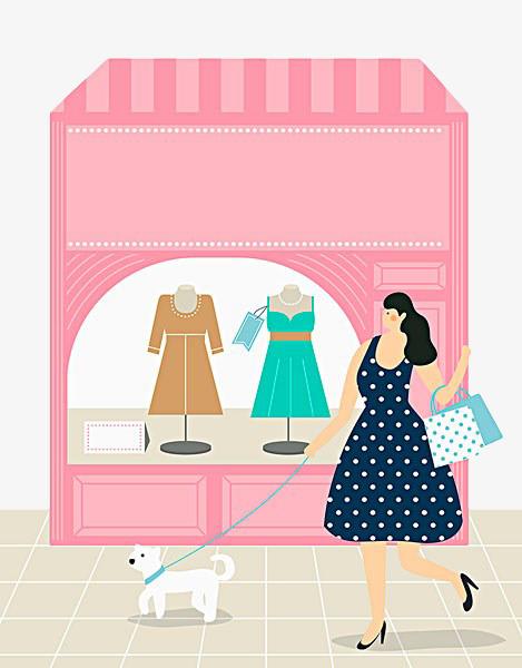 手繪粉色時裝櫥窗