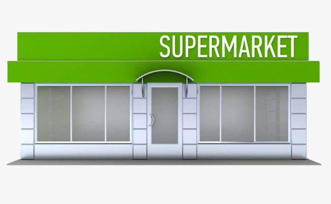 手绘矢量超市橱窗