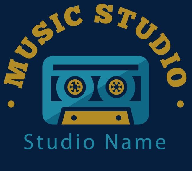 音乐工作室logo设计免抠图png素材-90设计