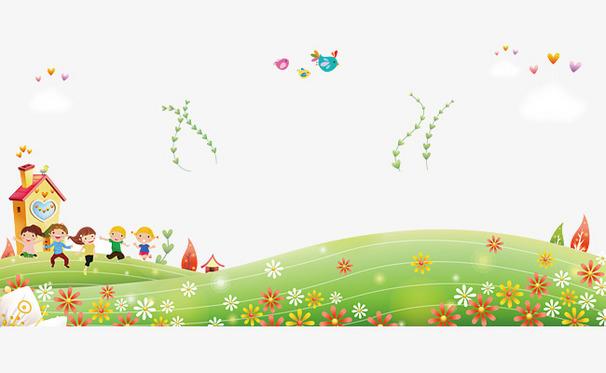 卡通孩童郊外游玩风景背景图片