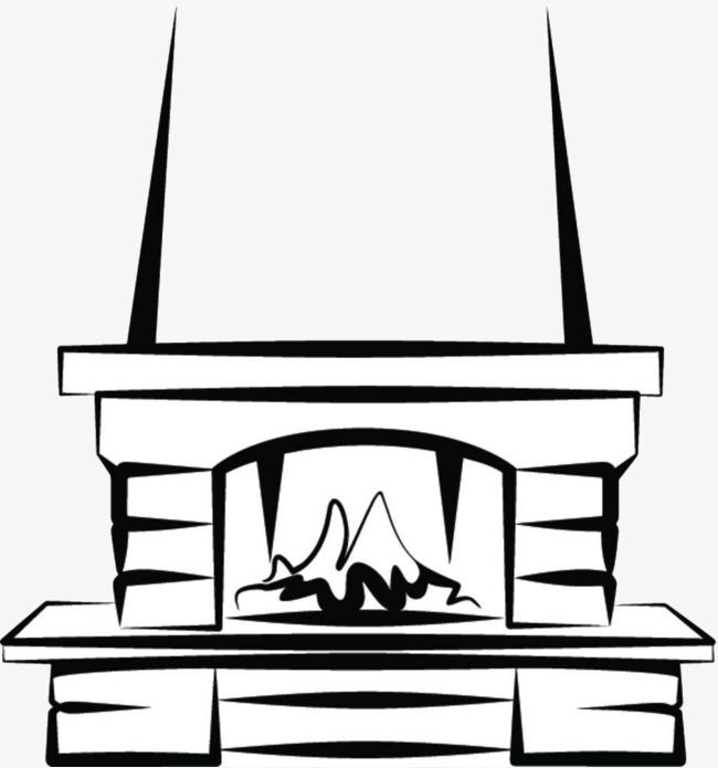 手绘简约壁炉