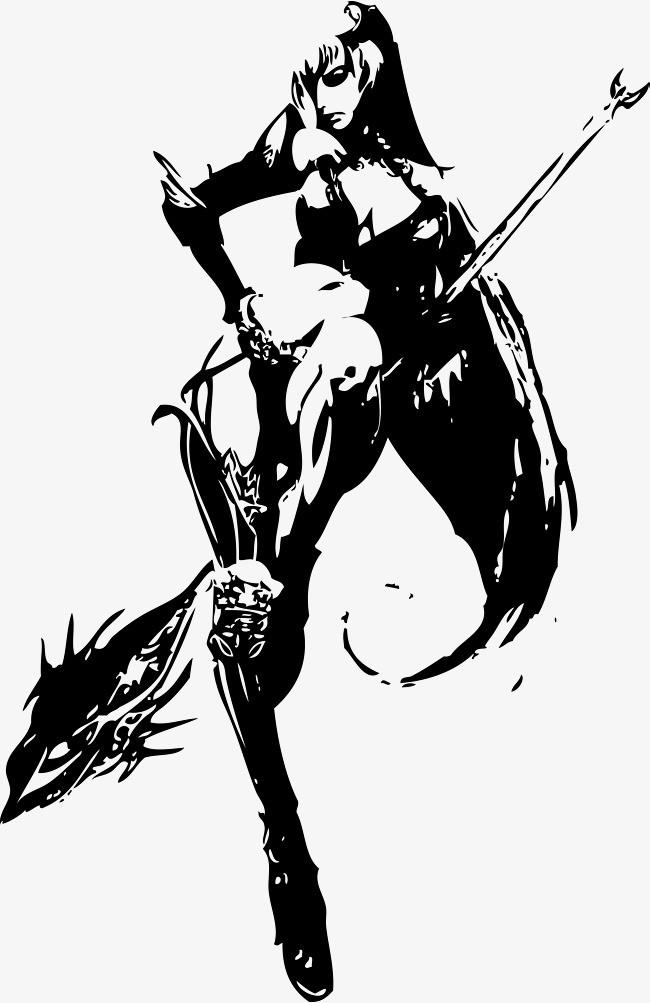 古代武侠剪影png素材-90设计