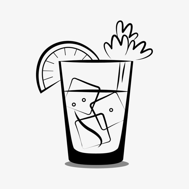 手绘夏季冷饮 柠檬 冰块 矢量