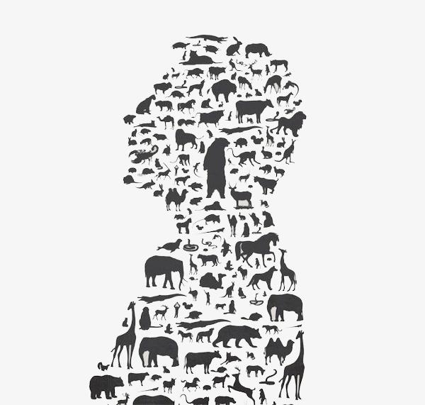 图片 > 【png】 简约动物拼接人物  分类:效果元素 类目:其他 格式:pn