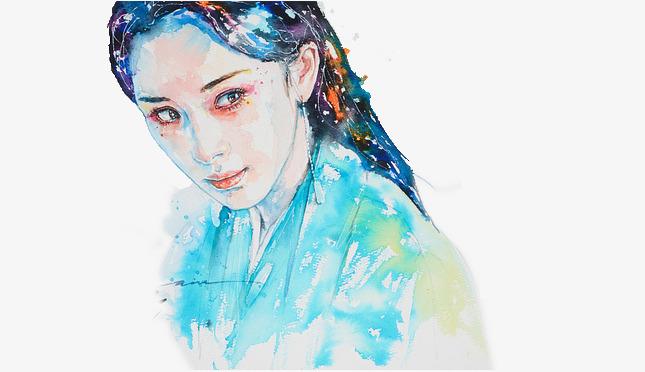 白浅水彩手绘