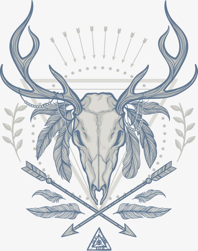 矢量手绘鹿头