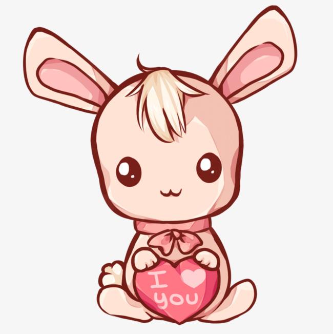 卡通小兔子手繪兔子粉色兔子