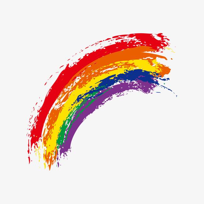 卡通手绘七彩彩虹