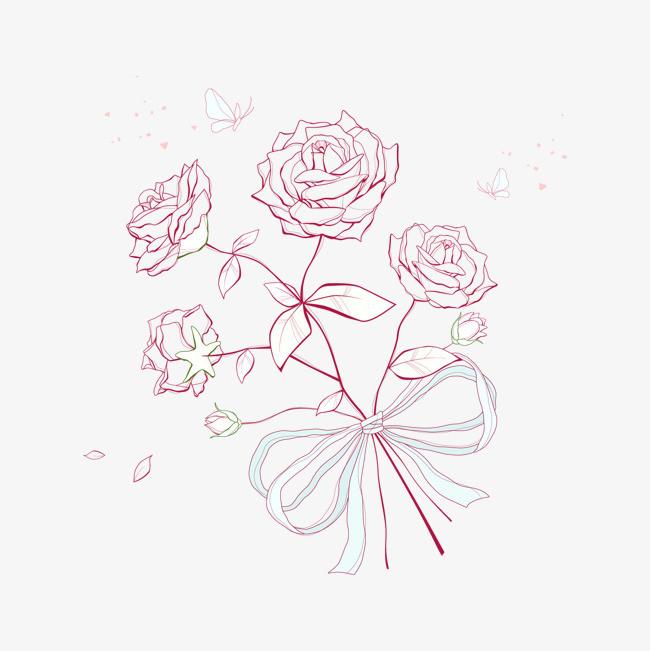 手绘玫瑰花束图案