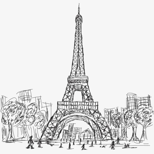 手绘线稿埃菲尔铁塔