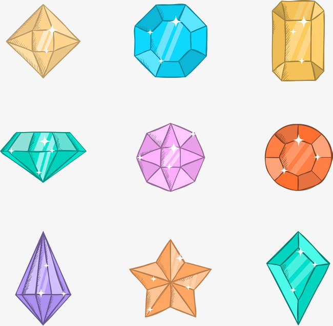 矢量手绘卡通钻石