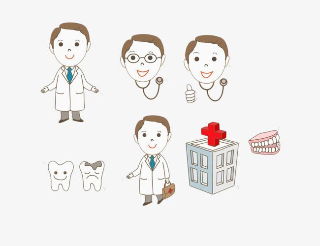 手绘卡通牙医