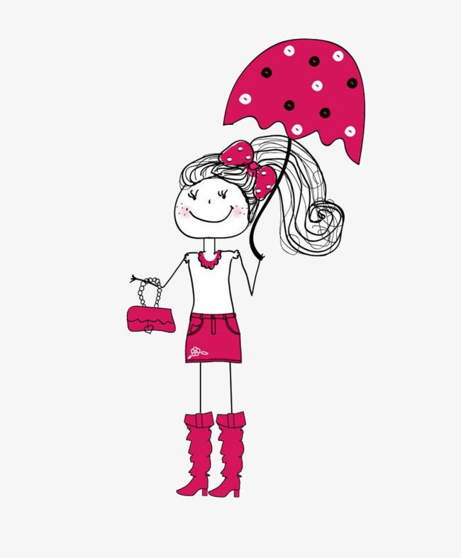 手绘卡通打伞女孩