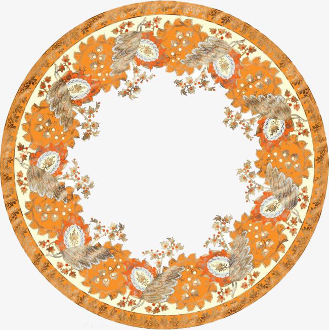 金色藏式花边图形装饰花卉藏族边框圆形藏式花边藏式花纹-金色藏式