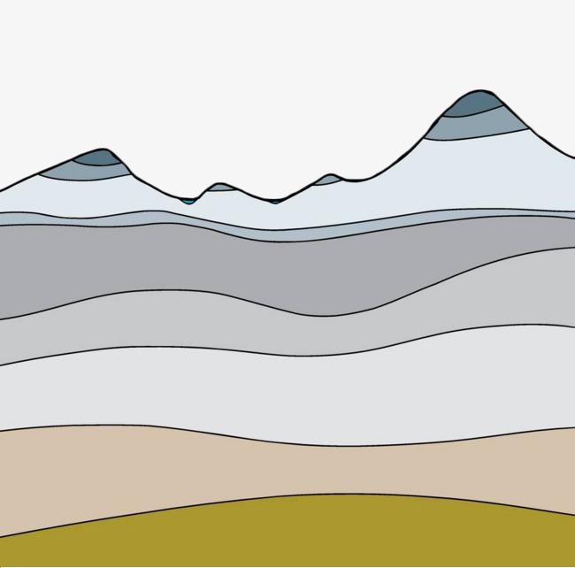 手绘彩色山川横剖面