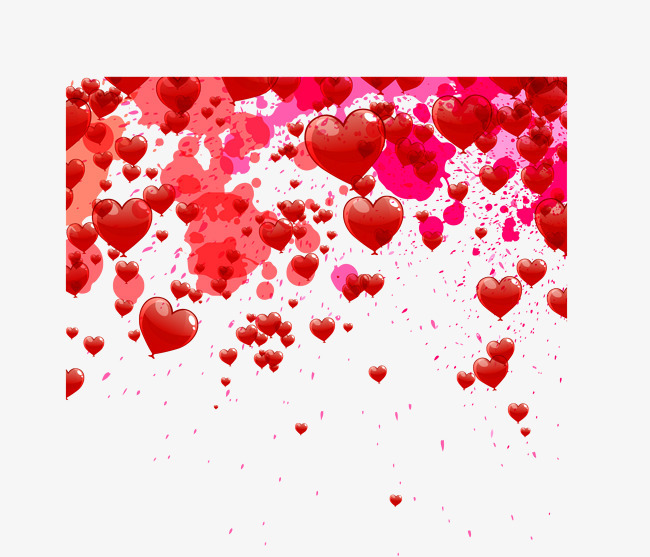 效果红色飞溅墨汁和爱心png素材-90设计