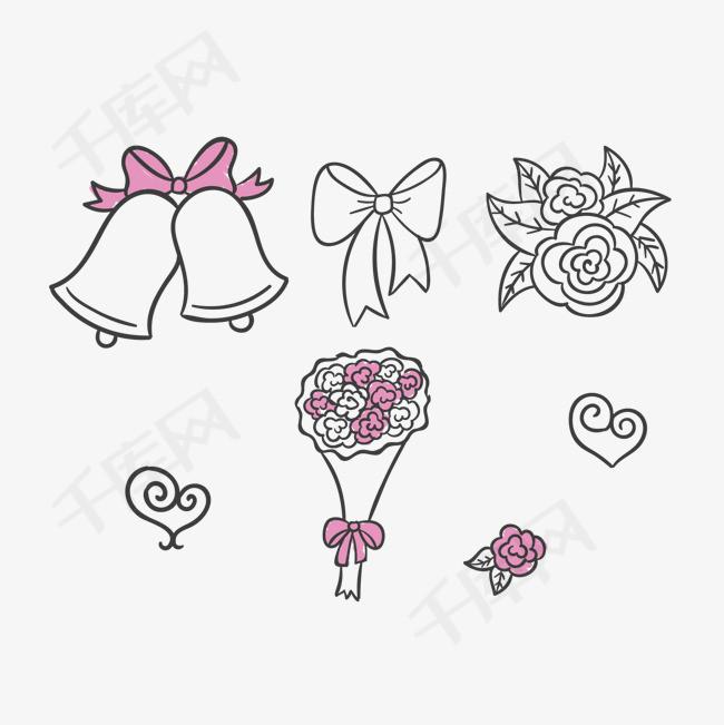 矢量手绘婚礼配图元素素材图片免费下载 高清psd 千库网 图片编号4643873