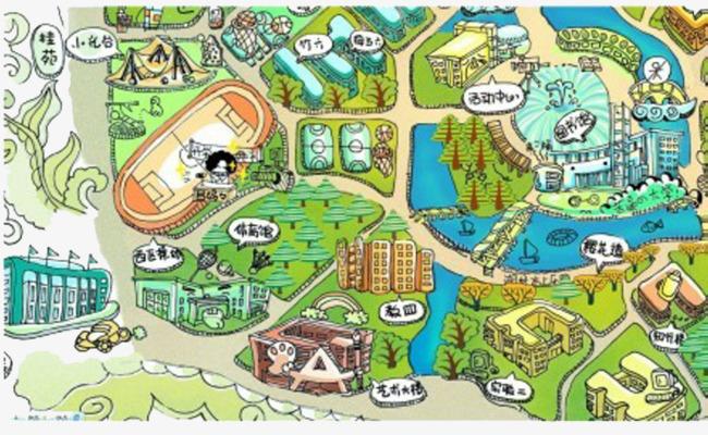 手绘武汉大学地图作品为设计师创作,格式为png,编号为 18271545,大小图片