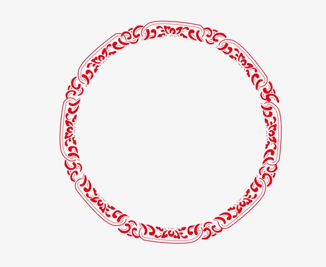 矢量圆形花纹边框png图片