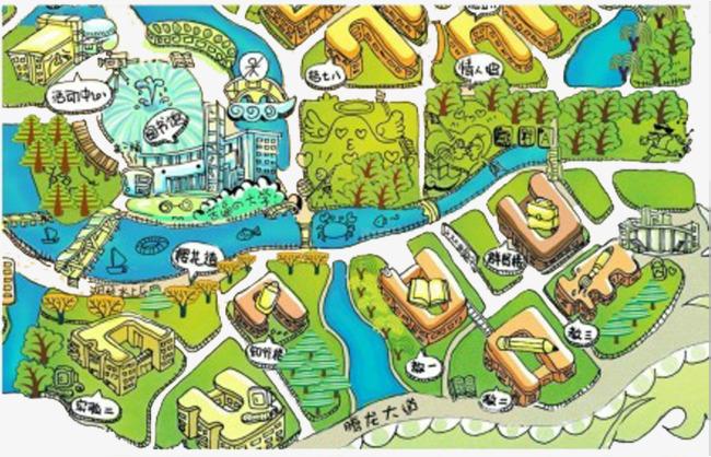 手绘武汉大学地图作品为设计师创作,格式为png,编号为 18271549,大小图片