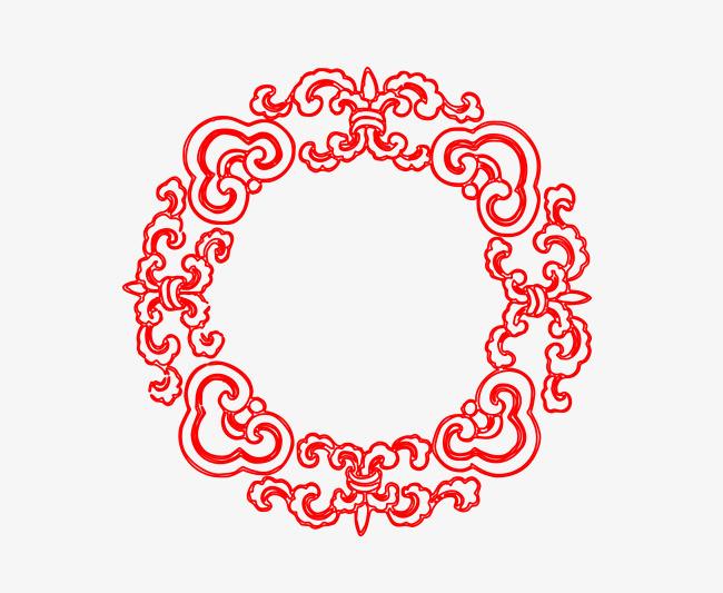 矢量中式圆形花纹边框png图片图片