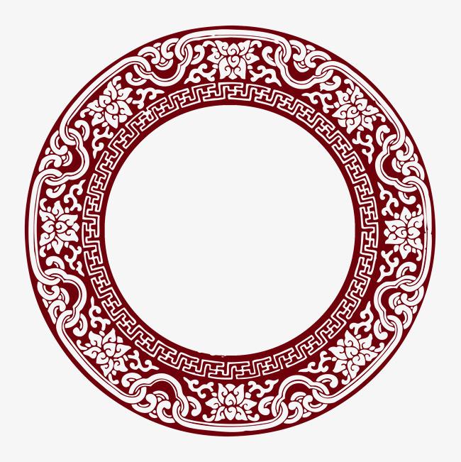 中式花纹圆形边框png图片图片