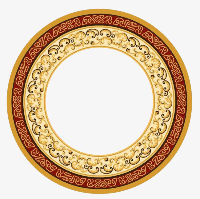 金色圆形藏式花边【高清边框纹理png素材】-90设计