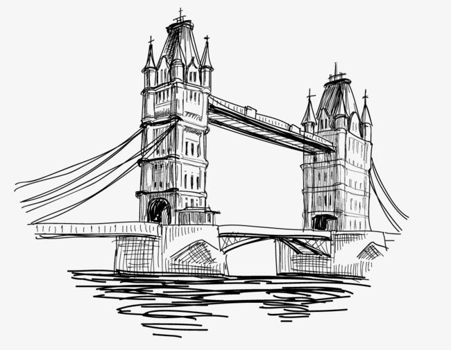 手绘背景_手绘线条英国塔桥png素材-90设计