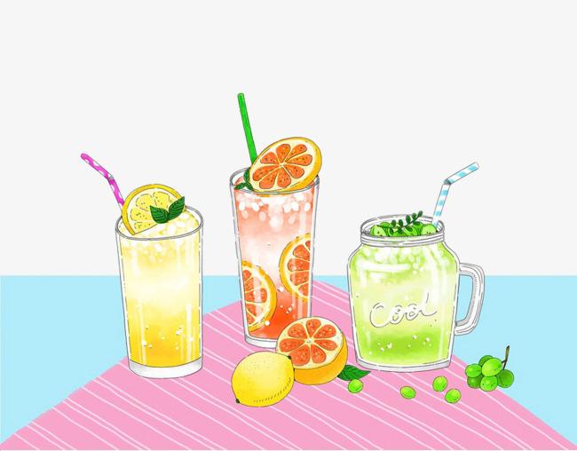 手绘柠檬冰饮