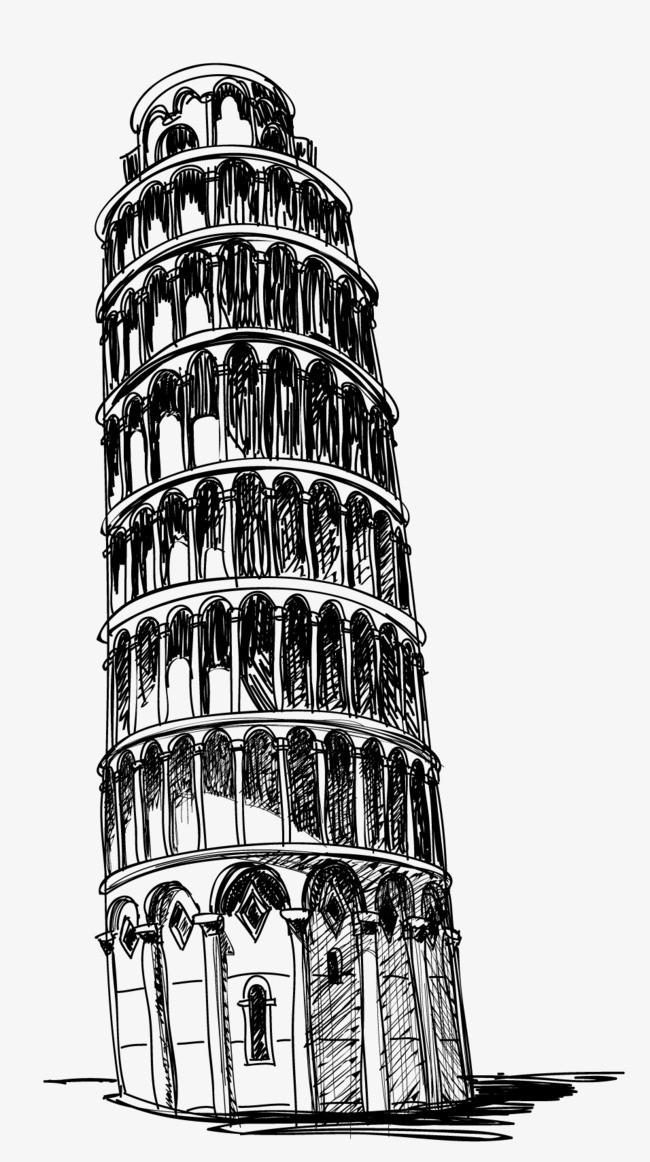 手绘线条比萨斜塔