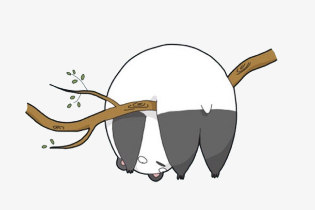 树枝 叶子 熊猫 手绘             此素材是90设计网官方设计出品,均