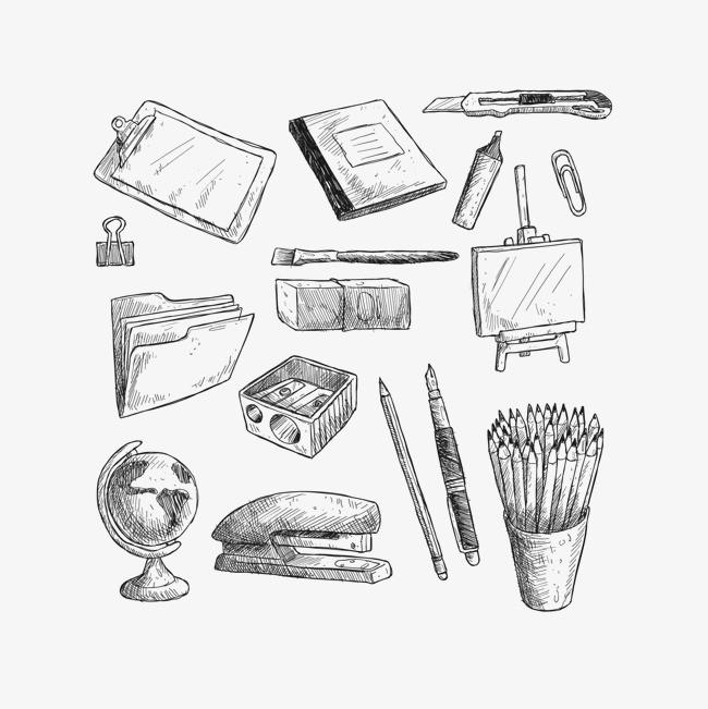 矢量手绘素描文具