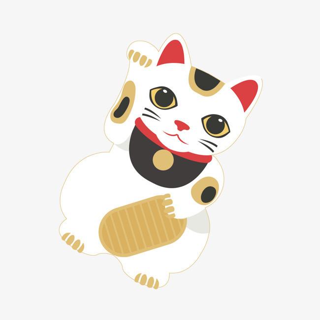 矢量手绘日本招财猫