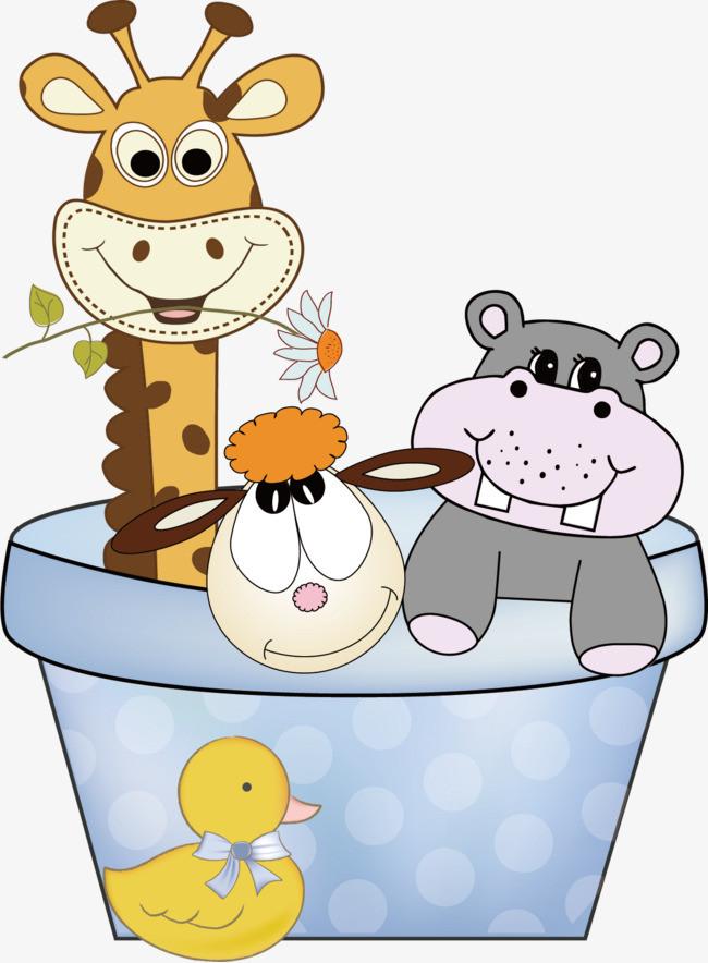 洗澡的小动物