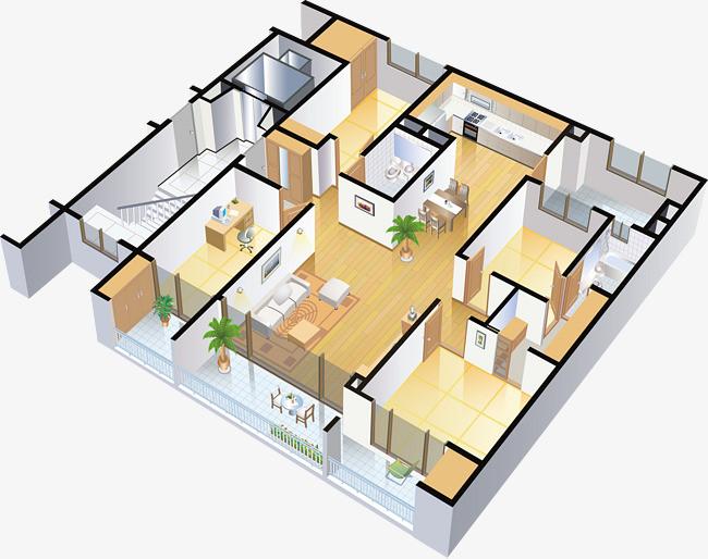 立体房屋切面图png素材-90设计图片