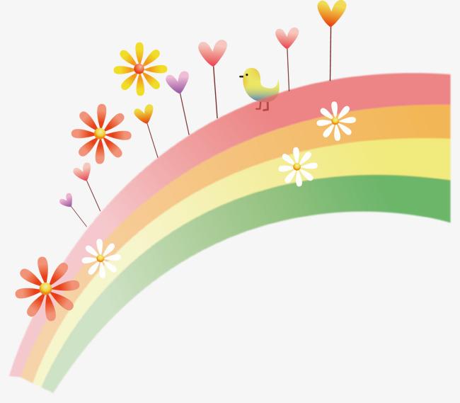 唯美彩虹花朵手绘卡通图案