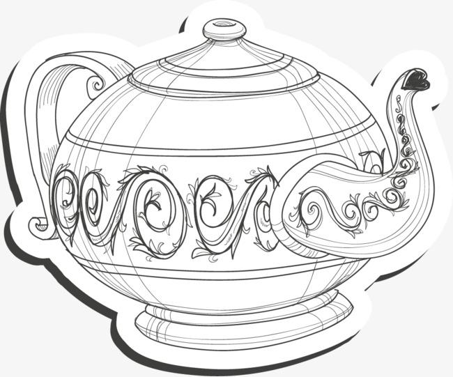 手绘素描茶壶标签