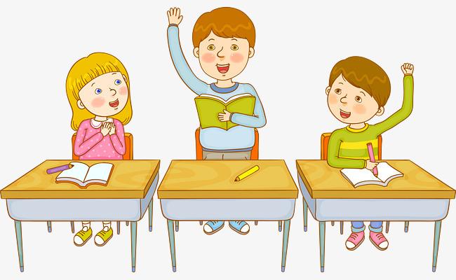 卡通小学生举手发言【高清png素材】-90设计