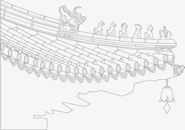 饺子馆屋檐元素手绘图