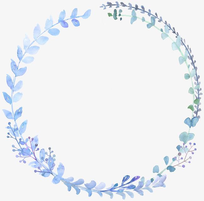 手绘水彩圆形花环