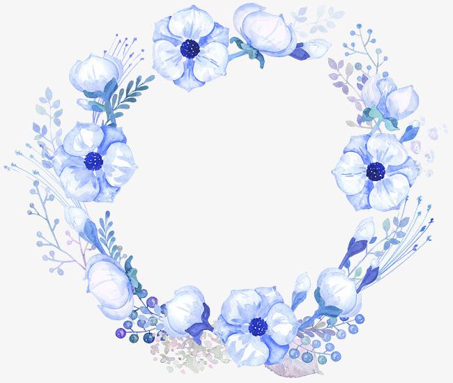 手绘水彩蓝色圆形花环