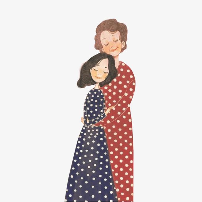 卡通母亲节母女拥抱