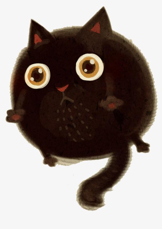 卡通 手绘  装饰 猫咪 黑色             此素材是90设计网官方设计