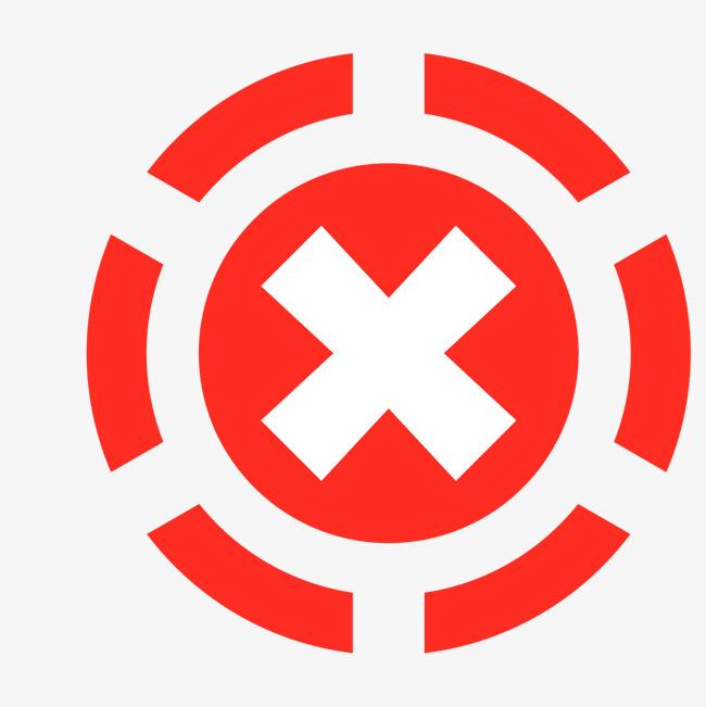 虚线红色圆形x型no矢量素材